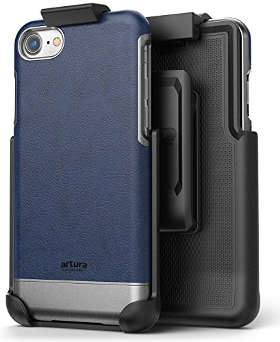 iPhone 8 Vegan Leather Belt Clip Case w/ Holster - Artura Collection by Encased (Oxford Blue) (Blue Leather Case Belt Clip)