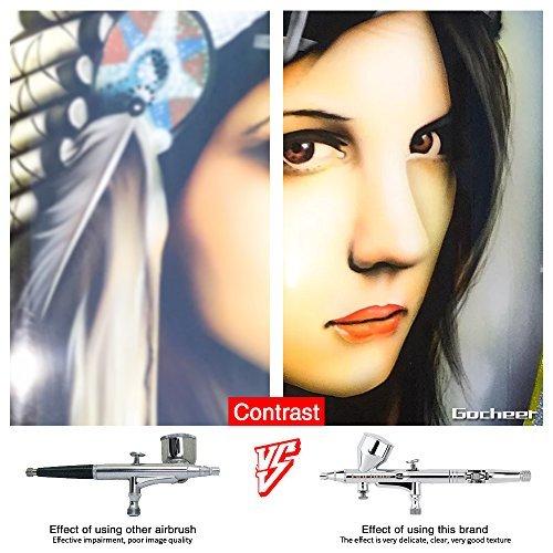 Gocheer Alta precisione Pistola Aerografo Doppia azione Gravità Alimentare Aerografo con 0,2 0,3 0,5mm ugelli Set per Tatuaggi Nail art Trucco Spray con Kit Pulizia Aerografo