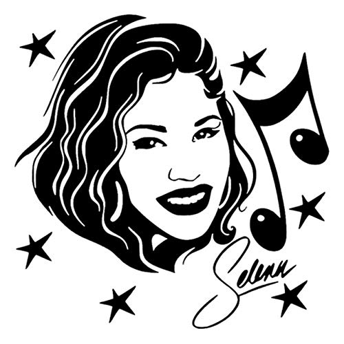 Tomeco 13cm13cm Selena Quintanilla Singer Actress Music Fashion Car Sticker Black/Silver S3-4699 - (Color Name: Black)