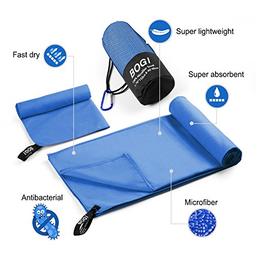 BOGI Microfiber Travel Sports Towel-(M:40''x20'')-Antibacterial Dry Fast Soft Lightweight Absorbent&Ultra Compact-Perfect For Camping Gym Beach Bath Yoga Backpacking Fitness+Gift Bag&Carabiner(M:Blue)