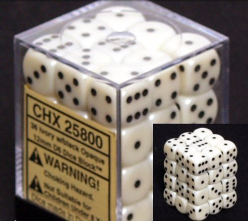 Chessex Dice D6 Sets: Opaque Ivory/Black - 12mm Six Sided Die (36) Block of Dice ()