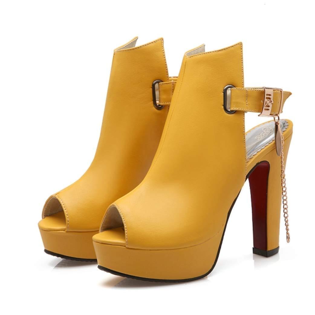Exclusive Shoebox Womens Peep Toe Platform High Heel Sandals Metal Chain Slingback Elegant Block Heel Dress Shoes