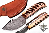GladiatorsGuild 64 Custom Handmade Damascus Steel Skinner Hunting Knife Fixed Blade Small Skinning Knife with Gut Hook
