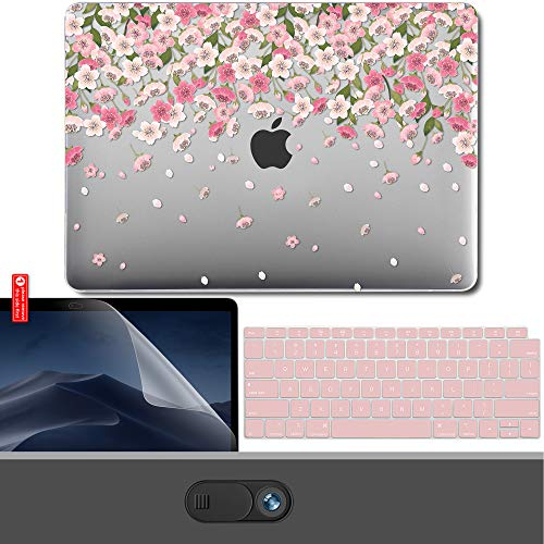 GMYLE MacBook Air 13 Inch Case 2018 Release A1932 with Touch ID Retina Display, Pattern Plastic Hard Shell, Webcam Cover Slide, Keyboard Cover and Screen Protector Set - Cherry Blossom Floral Pink