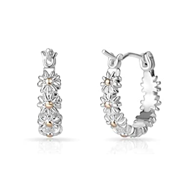 Silver and Gold Plated Daisy Hoop Earrings 9PzPL