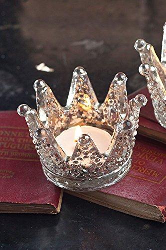 Rustic Pottery - Vagabond Vintage Mercury Glass Crown Votive, Set of Three, 3 Piece