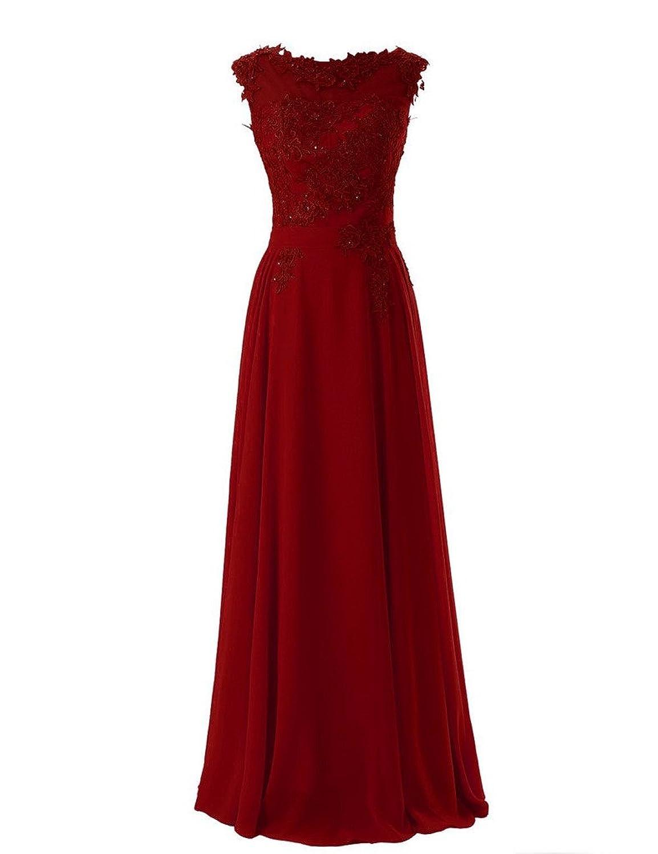 Shiningdresses Women's Fashion Applique Scoop Neck Sexy Lace Long Evening Prom Dress