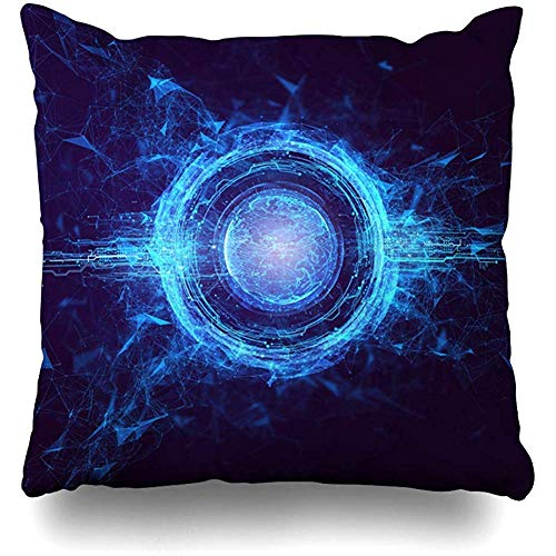 Throw Pillow Cover Sustainability Hitech Hologram Globe Earth Render Technology Abstract World Cyber Circle Power Design Home Decor Cushion Case Square Size 18 x 18 Inches Zippered Cases