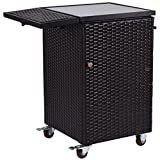 Giantex Rattan Wicker Kitchen Trolley Cart Patio Home Lawn Roller Dining Storage Glass Stand Flexible Casters