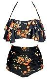 COCOSHIP Black & Orange Tangerine Fruit Vintage Boho Flounce Falbala High Waist Bikini