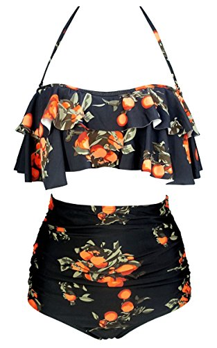 COCOSHIP Black & Orange Tangerine Fruit Vintage Boho Flounce Falbala High Waist Bikini Set Chic Swimsuit Outdoor Bathing Suit M