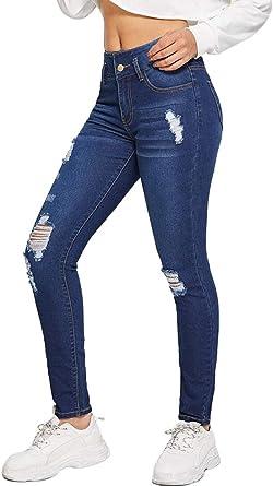 Onsoyours Cintura Alta Pantalones Skinny Lapiz Jeans Mujer Elastico Flacos Vaqueros Leggings Push Up Mezclilla Pantalones Amazon Es Ropa Y Accesorios