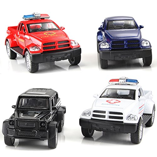 AMANYER Set of 4 Pickup Trucks Toy Pull Back Vehicles Mini Car Toy for Kids Toddlers Boys Pull Back And Go Car Toy Play Set