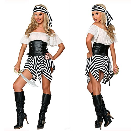 Halloween Women's Deluxe Sexy Swashbuckler Caribbean Pirate Cosplay Costume Outfit(One size-Black&White)