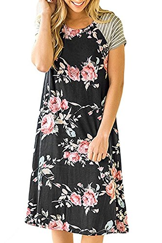 La Mujer Es Elegante Floral Print Patchwork Swing Vestido De Fiesta Black
