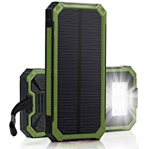 Best Solar Charger, Solar Power Bank 5000 mAh, External Phone Battery Dual USB Solar Panel 6LED Light Portable for Emergency Outdoor Camping Travel Bluetooth iPhone iPad Camera Tablet GoPro. (Green)