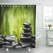 Emvency Shower Curtain With Hook Polyester Fabric Green Spa Zen Basalt Stones and Bamboo Ayurveda Rock Care Balance Sprout Alternative Waterproof Adjustable Hook Sets 72 x 72 For Bathroom