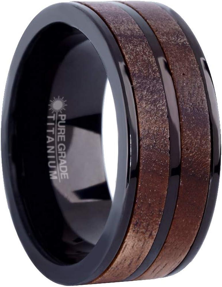 8mm Exotic Dark Walnut Wood Twin Inlay Black Titanium Wedding Band