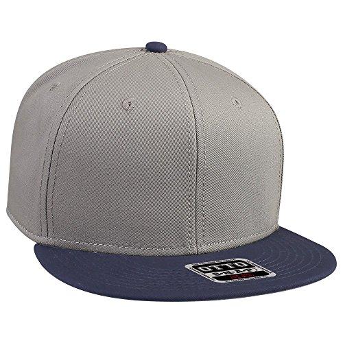 Otto Caps OTTO SNAP Cotton Twill Round Flat Visor 6 Panel Pro Style Snapback Hat - (Panel Pro Style Cotton Twill)
