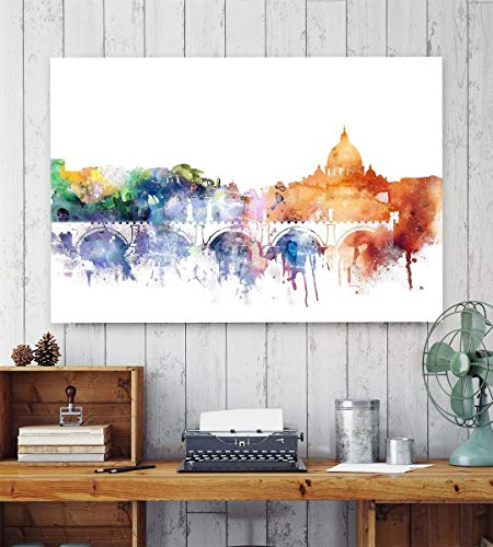 Rome Watercolor print, Colorful Skyline of the Italian Capital, Roma Poster, Rome Cityscape Decoration, Modern Italian Art, Urban Watercolor, Unframed print.