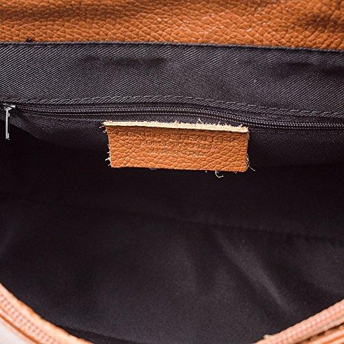 FIRENZE ARTEGIANI.Mochila de mujer casual piel auténtica.Mochila bolso cuero genuino.Piel Dollaro,DAY PACK casual. MADE IN ITALY. VERA PELLE ITALIANA. 30x30x13 cm. Color: LEATHER