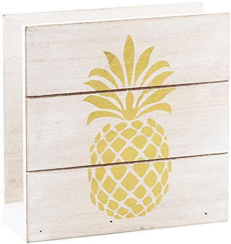 Home Essentials 6'' H White Wood Napkin Holder with Gold Pineapple 6'' H by Home Essentials