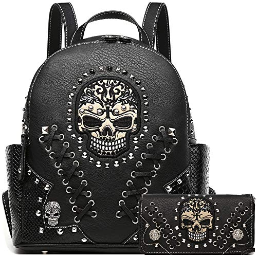 Sugar Skull Punk Art Rivet Stud Biker Purse Women Fashion Backpack Python Daypack Shoulder Bag Wallet Set (Black -