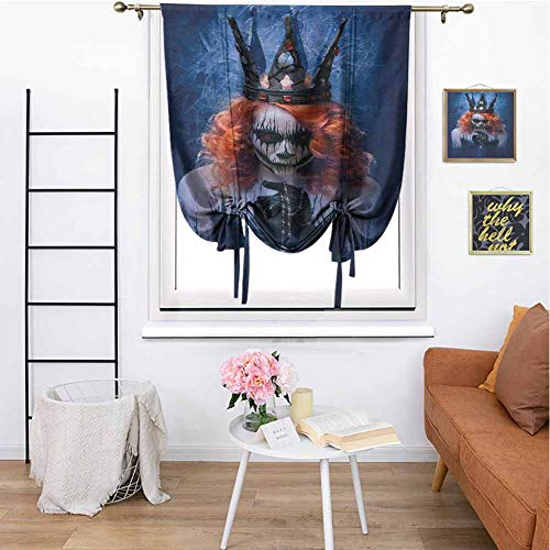 Zombie Pin Up Halloween Makeup (Queen Blackout Roman Curtain Queen of Death Scary Body Art Halloween Evil Face Bizarre Make Up Zombie Daily use W42 x L72 Inch Navy Blue Orange)