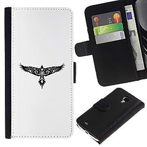 Protector de cuero de la PU de la cubierta del estilo de la carpeta del tirón BY RAYDREAMMM - Samsung Galaxy S4 Mini i9190 - Modelo tribal del tatuaje del halcón de Eagle