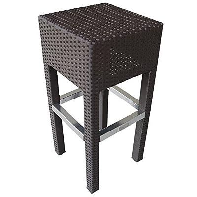 Abba Patio Outdoor Wicker Barstool Patio Furniture Bar Stool, 14.2''L x 14.2''W x 30.3''H, Brown