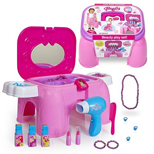 Next Milestones Girls Vanity Makeup and Stool Seat with Jewelry Toy Set, Hair Dryer Toy with Sound, Hair Brush, Necklace, Lipstick, Nail Polish, Mirror and More