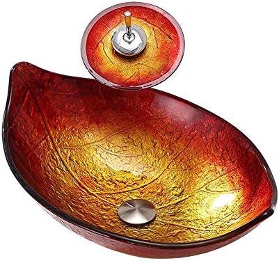 洗面ボウル レッド&GoldLeaf形の強化ガラス容器シンクでレッド&GoldMosaic仕上げのクローム蛇口コンボ、ポップアップシンクドレイン 洗面台 洗面器 (Color : Red, Size : 58.5x37.5x18.5cm)