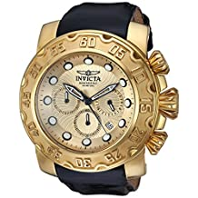 Invicta Men's Lupah Black Leather Band Steel Case Flame-Fusion Crystal Quartz Gold-Tone Dial Watch 22492