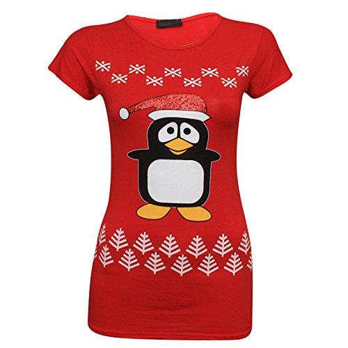 Get The Trend - Camisa deportiva - Manga corta - para mujer PENGUIN SNOWFLAKES RED (CAP)