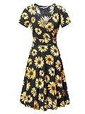 MSBASIC Fall Dress, Womens Casual V Neck A Line Short Sleeve Flare Sunflower Print Midi Dress Small Floral-4