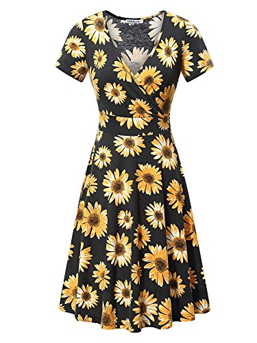 Jersey Short Sleeve Wrap Dress - MSBASIC Dress for Women Party, Womens Casual V Neck A Line Short Sleeve Flare Sunflower Print Midi Dress X-Large Floral-4