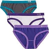 High Sierra (3 Pack) Performance Women's Bikini Briefs Underwear Athletic Nylon Ladies Panties Grey/purple/white S