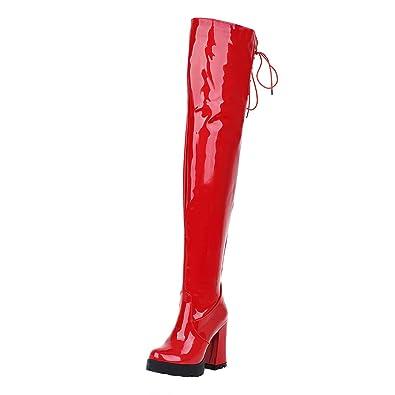 UH Damen Lack Overknee Stiefel mit Blockabsatz und Fell Bequeme Warm Herbst Winter Boots ofjEv4