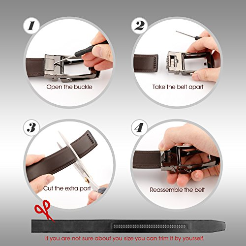 WERFORU Leather Ratchet Dress Belt for Men Perfect Fit Waist Size Up to 44