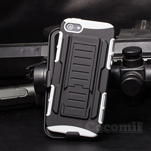 Cocomii Robot Armor iPhone SE/5S/5 Case New [Heavy Duty] Premium Belt Clip Holster Kickstand Shockproof Bumper [Military Defender] Full Body Dual Layer Rugged Cover for Apple iPhone SE/5S/5 (R.White) ()