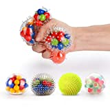 Fansteck Squeeze Ball 4 Pcs, Cool Anti Stress Ball, Colorful Squishy Ball, Silicone Exercising Sensory Ball with Multiple Styles, Soft Spikes, Anxiety Relief Toy for Strengthening Hand and Wrist