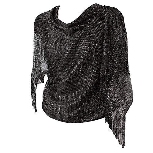 1920s Gatsby Weddings Evening Scarfs,Sheer Glitter Sparkle Piano Shawl Wrap (Black/Black)