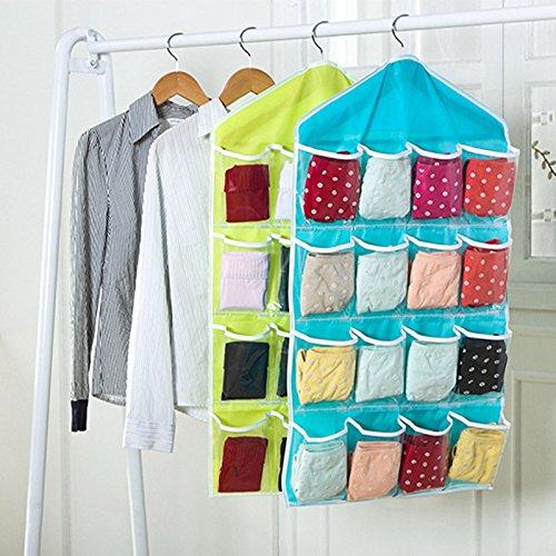 Hrph 16 Taschen faltbare Garderobe h/ängende Taschen Socken Briefs Organizer Kleidung Aufh/änger-Wandschrank Schuhe Unterhos Aufbewahrungstasche