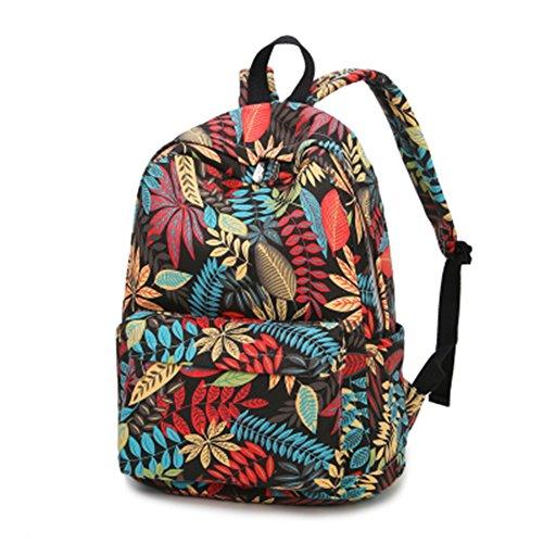 TOMATO-smile - Bolso mochila  de Lona para mujer beige negro negro