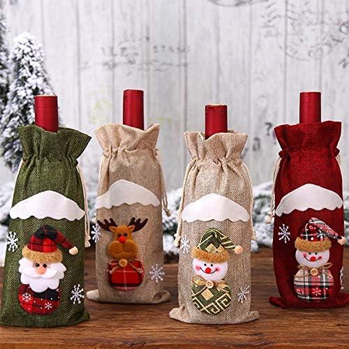 FICI Bolsa de Botella de Vino Tinto de Navidad Papá Noel Cubiertas de Botella de champán de Lino de muñeco de Nieve Decoración de Fiesta de Navidad, Rojo de muñeco de Nieve: