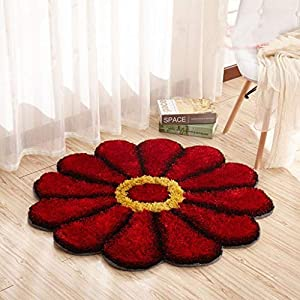 Rmhandloom Floral Modern Rug (Red, Polyester And Polyester Blend, 42 Inches)