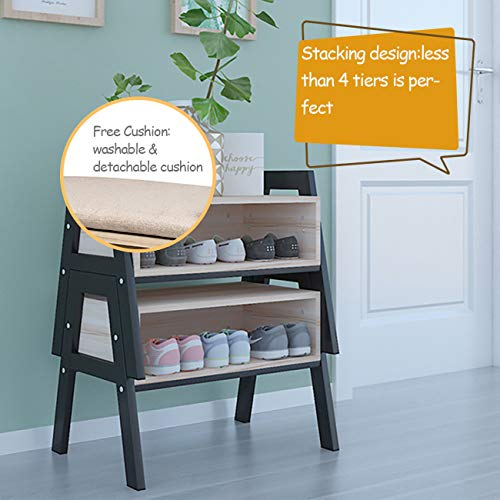 Fabulous Ansleyhosho Stackable Entryway Shoes Bench Seat Rack Wood Cjindustries Chair Design For Home Cjindustriesco