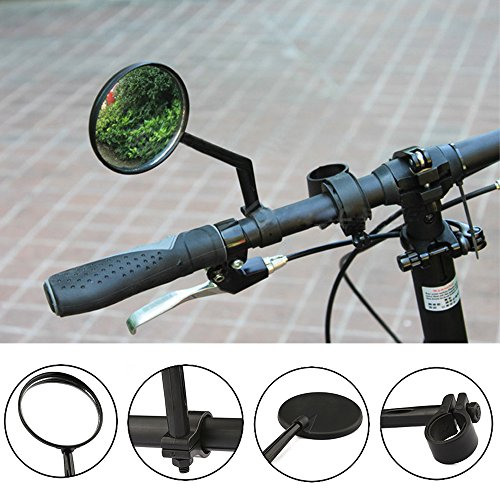 MeanHoo 1 Pair Universal 360 Rotate Bike Bicycle Cycling Handlebar Rearview Mirror Black Reflector Handlebar End Rearview Bicycle Accessories