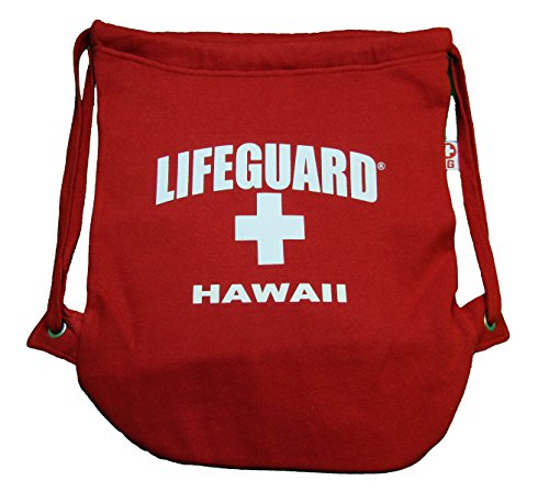 Maui Clothing Officially Licensed Lifeguard Hawaii Drawstring Backpack (Red)