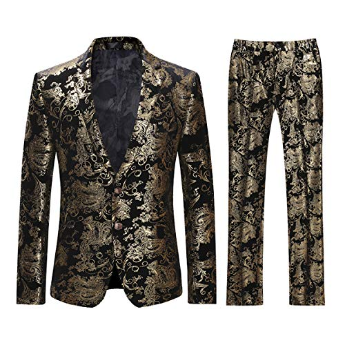 (Cloudstyle Men's Dress Suit Single-Breasted 2 Pieces Slim Fit 2 Buttons Suits Golden )